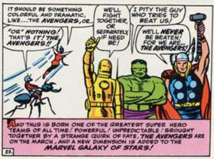 Viñeta de The Avengers #1 (63). Por Jack Kirby.
