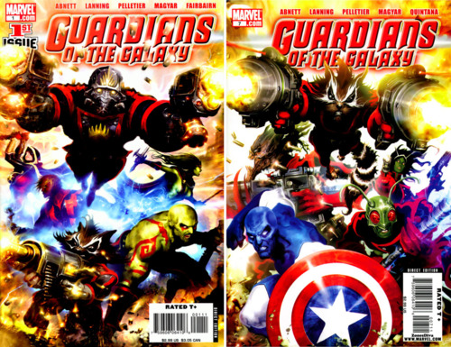 Guardians of the Galaxy vol 2 #01, por Clint Langley, y #07, por Clint Langley y Jim Valentino.