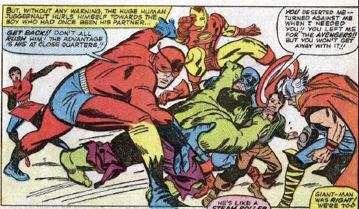 Viñeta de Fantastic Four #26. Hulk contra sus antiguos compañeros. Por Jack Kirby.