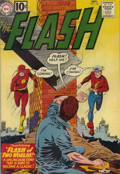Flash #123. Por Carmine Infantino. Con Flash de Tierra 1 (izquierda) y Flash de Tierra 2 (derecha)