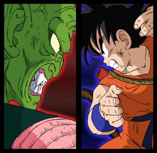 Piccolo vs Goku combaten a muerte.
