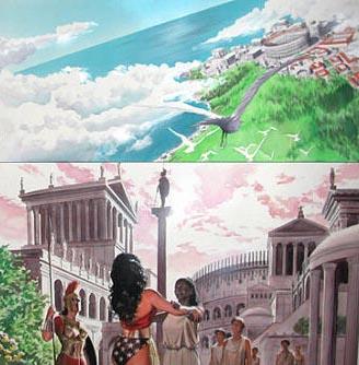 Isla Paraiso (arriba), Temiscira (abajo). Por Alex Ross