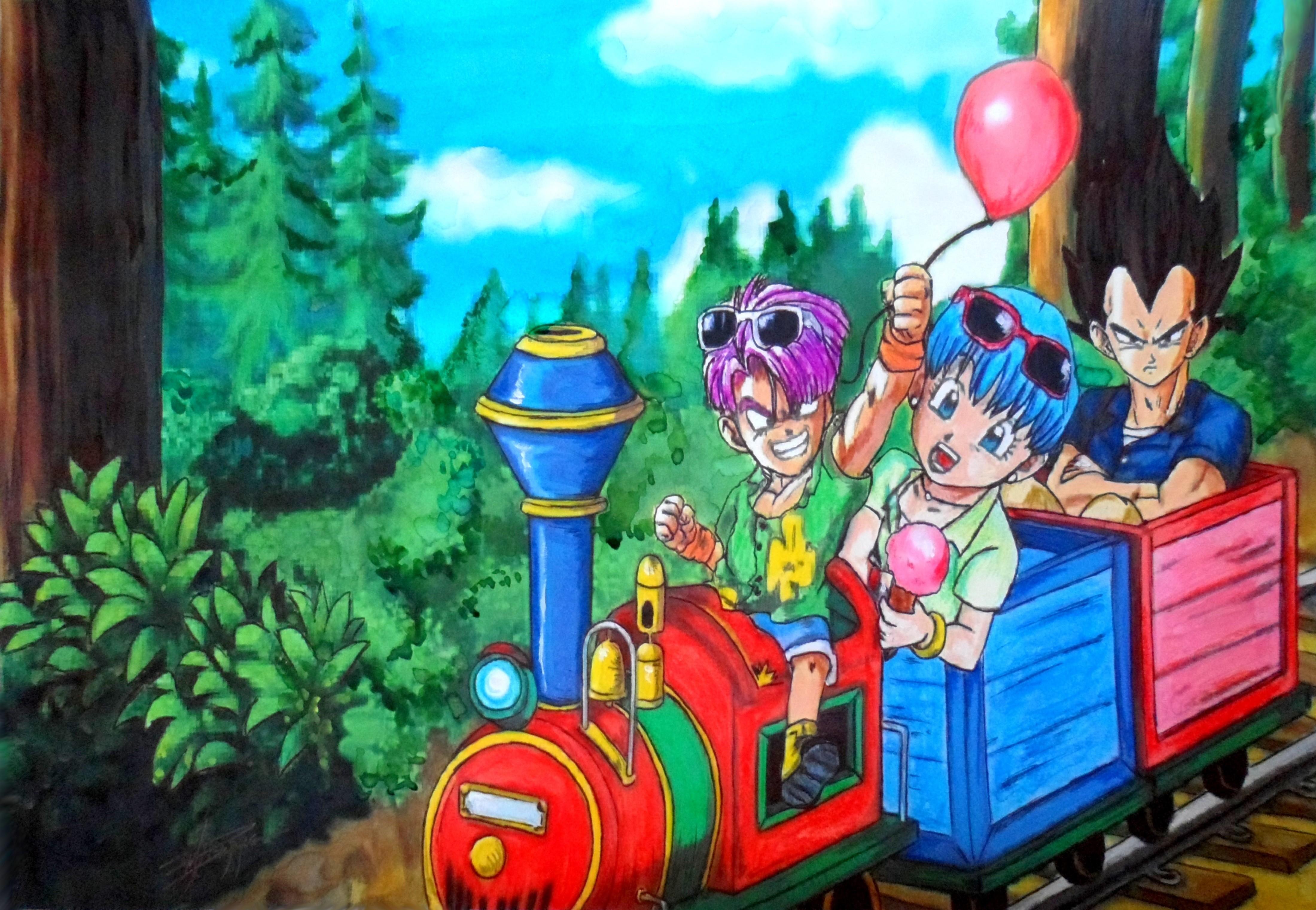 Trunks, Bulma y Vegeta de vacaciones. Por María Pizarro