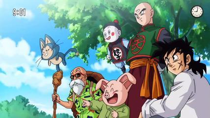 Puar, Mutenroshi, Oolong, Chaoz, Ten Shi Han y Yamcha en el opening de DBS