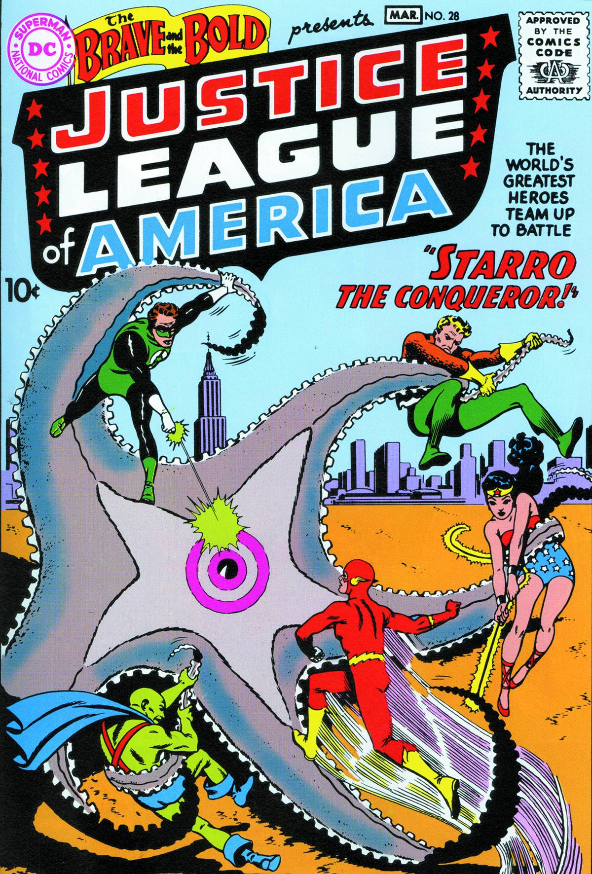 The Brave and the Bold #28. Por Mike Sekowsky, Murphy Anderson y Jack Adler.