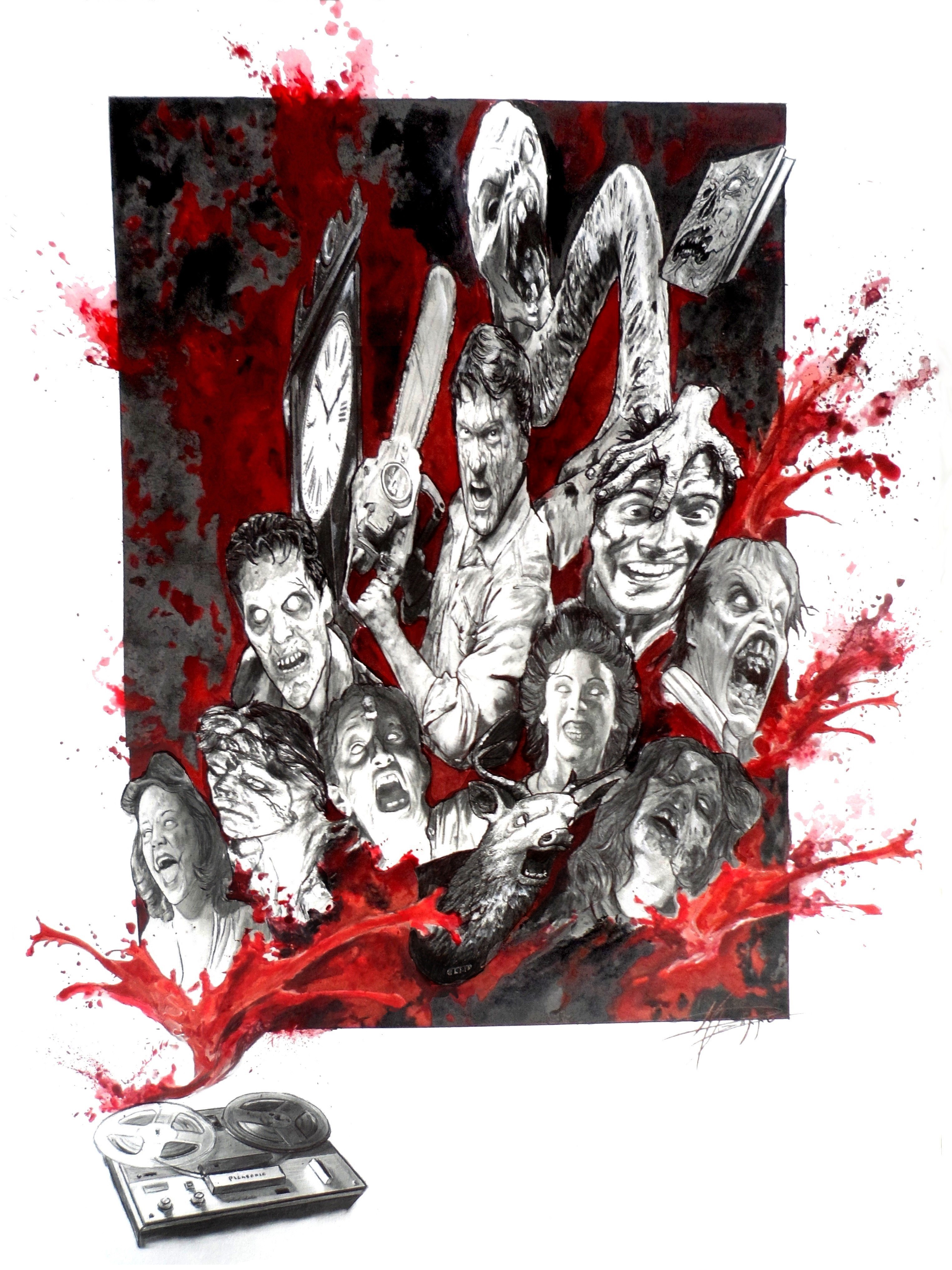 The Evil Dead. Por María Pizarro. Esta ilustración La ilustración se centra en las dos primeras películas y es mi particular forma de rendir homenaje a una saga que guste más o guste menos, no deja indiferente a nadie.
