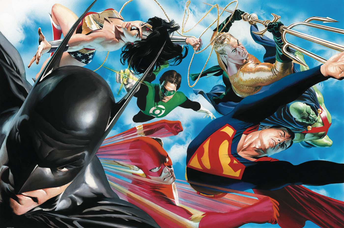Portada de JLA: Liberty and Justice. Por Alex Ross.