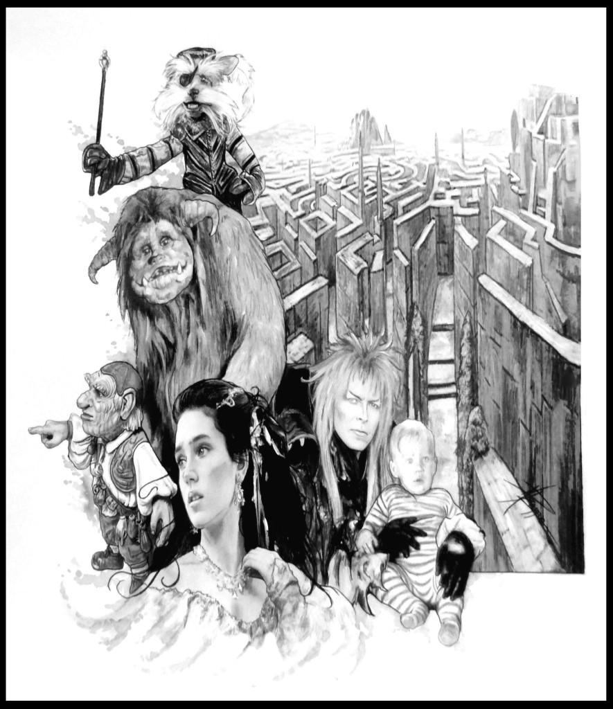 Ilustración por María Pizarro. Destaco a los personajes más importantes y tras ellos el laberinto interminable.