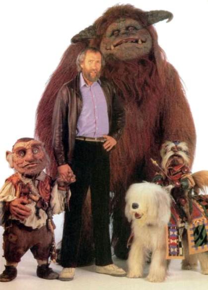 Jim Henson junto a Ludo, Sir Dydimus, Ambrosius y Hoggle