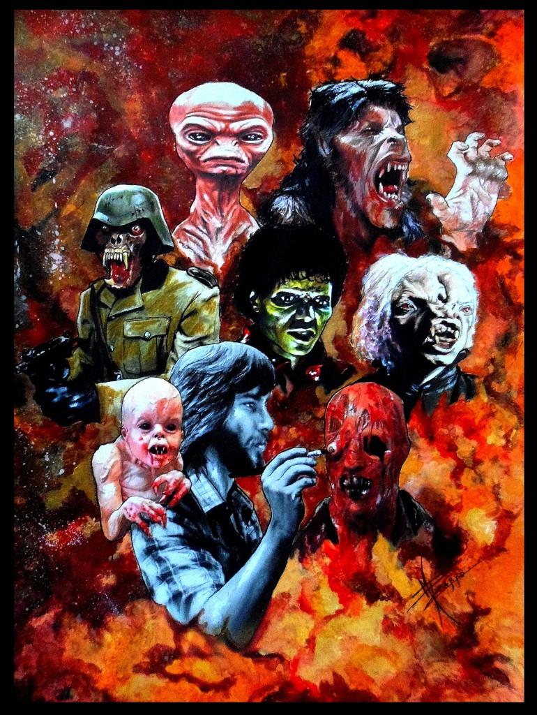 """Ilustracón por María Pizarro: Rick Baker en el centro con el bebe de """"It´s Alive""""(1974) en su espalda. A su vez retocando a """"The Increible Melting Man""""(1977). En el fondo se entremezclan los personajes de """"The Funhouse""""(1981),""""An American Werewolf in London"""" (1981), """"Thriller""""(1983)o el primer diseño que dio lugar a """"ET""""."""