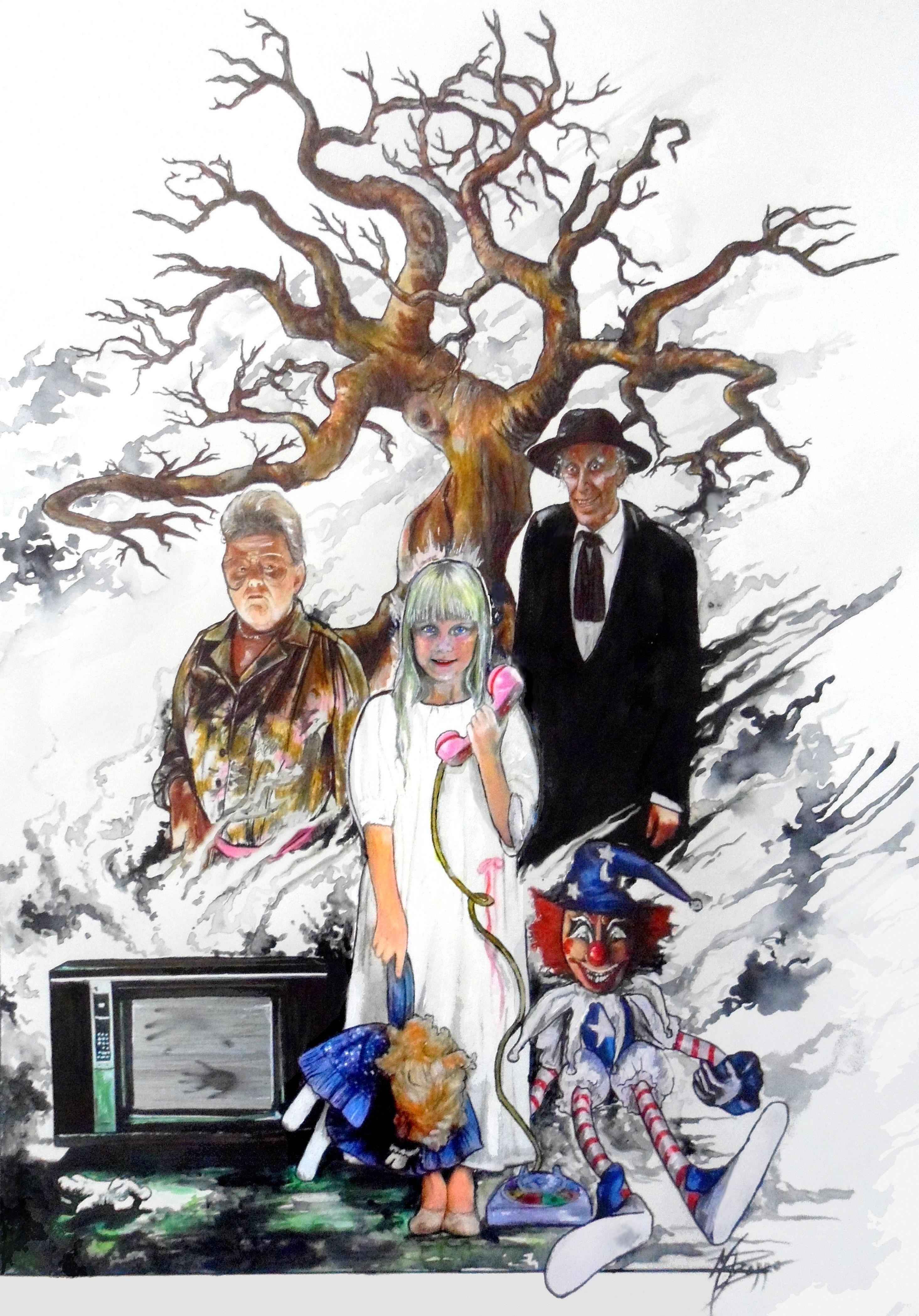 Ilustración por María Pizarro. Carol Anne en el centro y tras ella la médium Tangina Barrons y el terrorífico predicador Kane.
