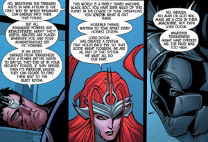 Viñetas de Inhumans: Attilan Rising #4. Por John Timms.