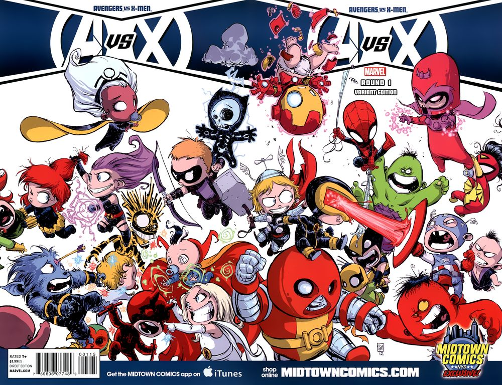 Avengers vs. X-Men #1. Por Skottie Young.