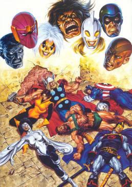 """Portada de uno de los recopilatorios de la saga """"The Avengers: Under Siege (98)"""". Por John Buscema y Joe Jusko."""