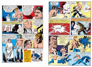 Páginas 5 y 6 de Captain America Comics #1 (1941). Por Simon y Kirby.