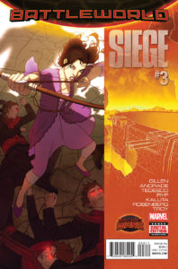 Portada de Secret Wars: Siege #3. Por W. Scott Forbes.