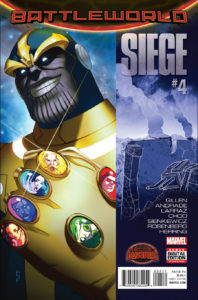Portada de Secret Wars: Siege #4. Por W. Scott Forbes.