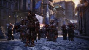 Antes del ataque de las hordas en Gears of War: Judgment disponemos de unos segundos para elaborar una estrategia, colocando ametralladoras y lásers por el escenario.