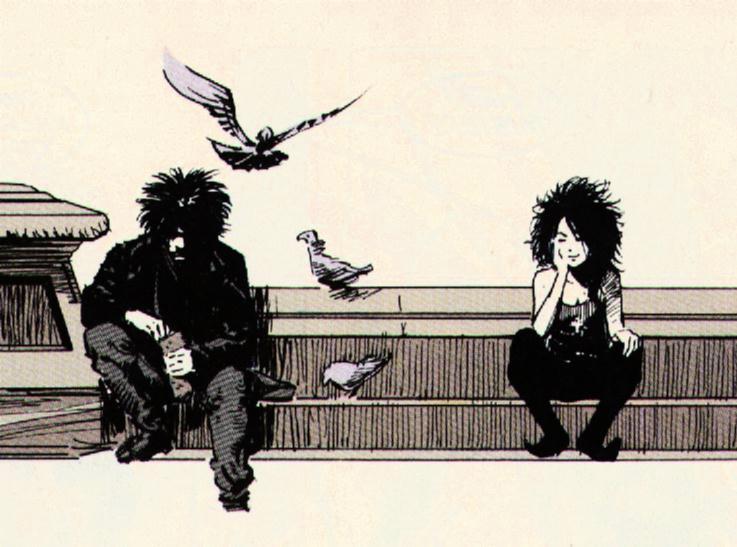 Viñeta de The Sandman #08 con Sandman (izquierda) y Muerte (derecha). Por Mike Dringenberg.