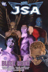 Portada de JSA: Black Reign. Por John Watson. Tomo que recopila JSA #56-#58 y Hawkman Vol4 #23-25.