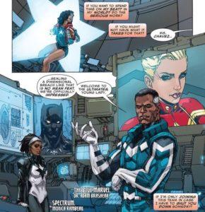 Página de Avengers Vol 6 #0 (15). Por Kenneth Rocafort.