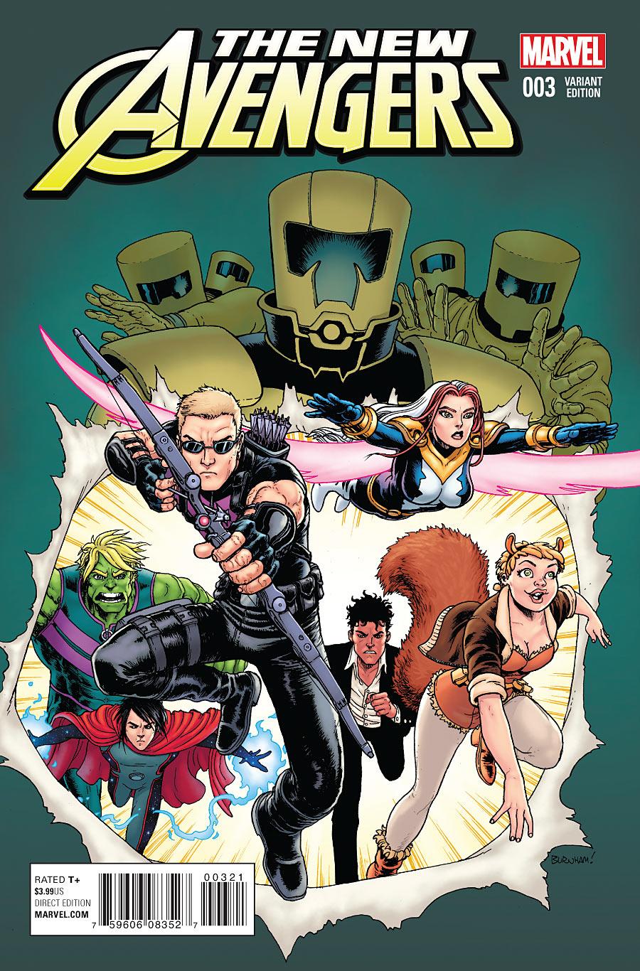 Portada alternativa de The New Avengers Vol 4 #3. Por Burnham.